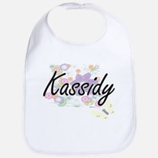 Kassidy Artistic Name Design with Flowers Bib