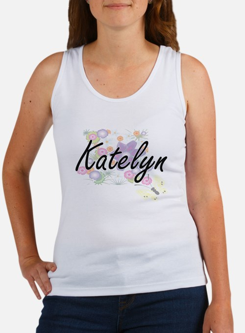 Katelyn Artistic Name Design with Flowers Tank Top