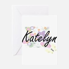 Katelyn Artistic Name Design with F Greeting Cards