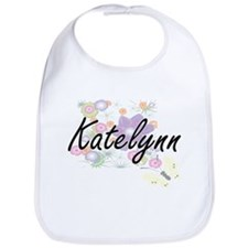 Katelynn Artistic Name Design with Flowers Bib