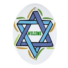Sukkot Poster Welcome Oval Ornament