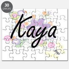 Kaya Artistic Name Design with Flowers Puzzle