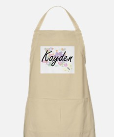 Kayden Artistic Name Design with Flowers Apron