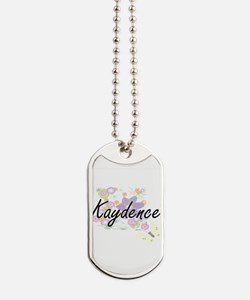 Kaydence Artistic Name Design with Flower Dog Tags