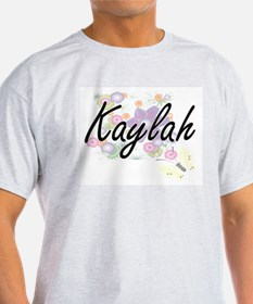 Kaylah Artistic Name Design with Flowers T-Shirt