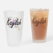 Kaylah Artistic Name Design with Fl Drinking Glass