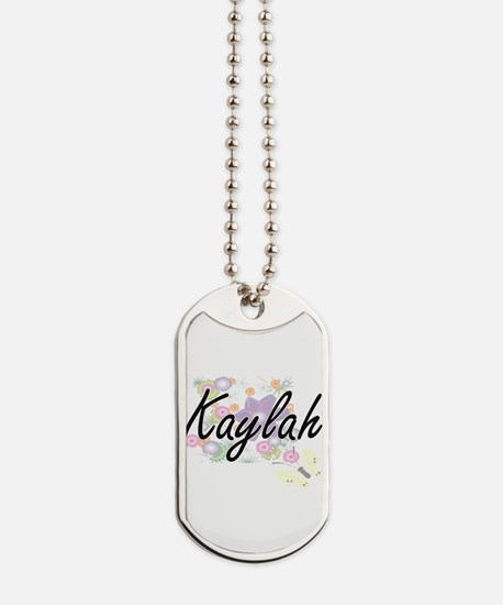 Kaylah Artistic Name Design with Flowers Dog Tags