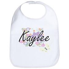 Kaylee Artistic Name Design with Flowers Bib