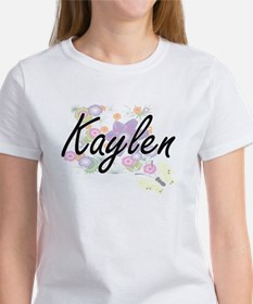 Kaylen Artistic Name Design with Flowers T-Shirt