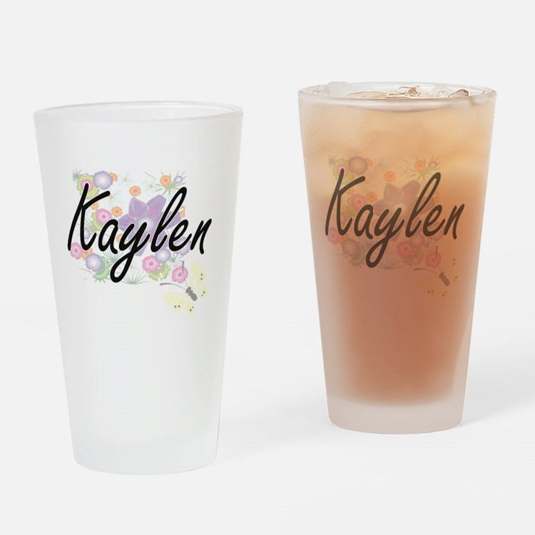 Kaylen Artistic Name Design with Fl Drinking Glass