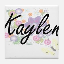 Kaylen Artistic Name Design with Flow Tile Coaster