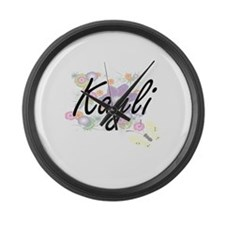 Kayli Artistic Name Design with F Large Wall Clock