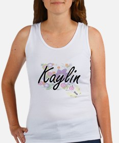 Kaylin Artistic Name Design with Flowers Tank Top
