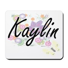 Kaylin Artistic Name Design with Flowers Mousepad