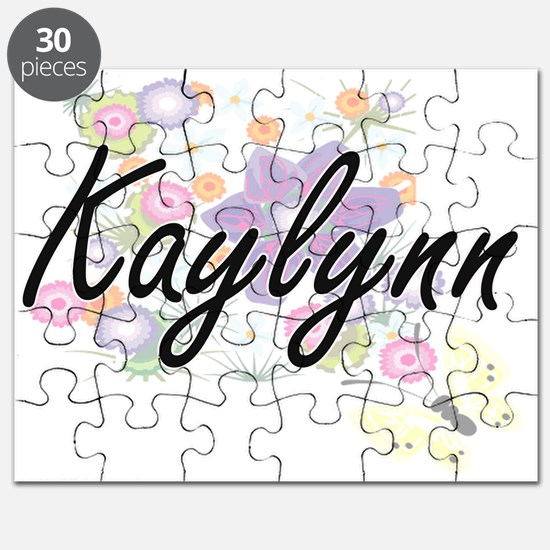Kaylynn Artistic Name Design with Flowers Puzzle