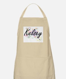 Kelsey Artistic Name Design with Flowers Apron