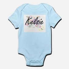 Kelsie Artistic Name Design with Flowers Body Suit