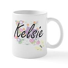 Kelsie Artistic Name Design with Flowers Mugs