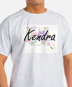 Kendra Artistic Name Design with Flowers T-Shirt