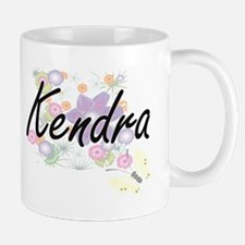 Kendra Artistic Name Design with Flowers Mugs