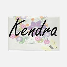 Kendra Artistic Name Design with Flowers Magnets