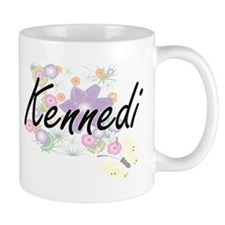 Kennedi Artistic Name Design with Flowers Mugs