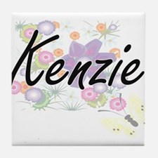 Kenzie Artistic Name Design with Flow Tile Coaster
