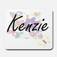 Kenzie Artistic Name Design with Flowers Mousepad