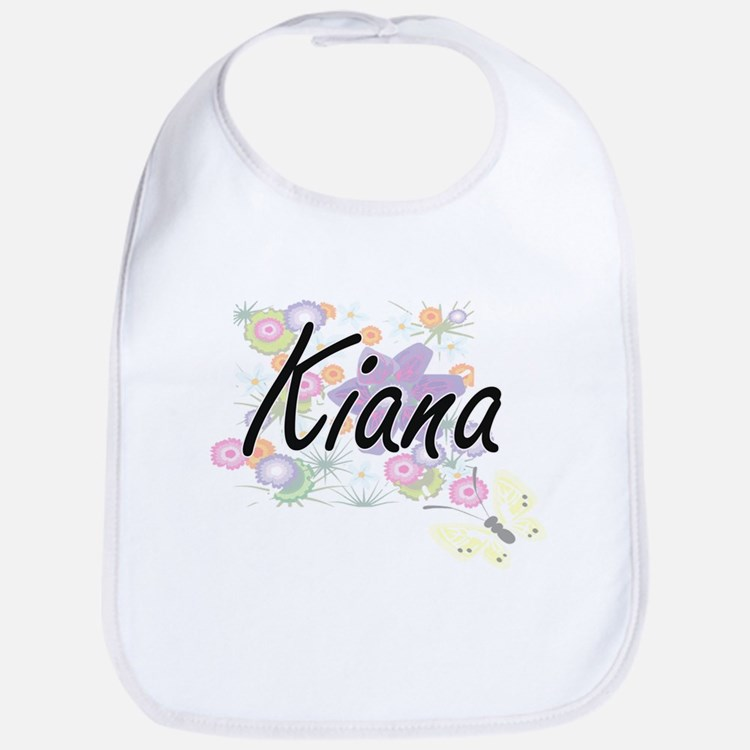 Kiana Artistic Name Design with Flowers Bib