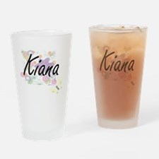 Kiana Artistic Name Design with Flo Drinking Glass