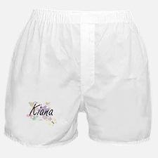 Kiana Artistic Name Design with Flowe Boxer Shorts