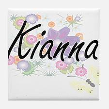 Kianna Artistic Name Design with Flow Tile Coaster