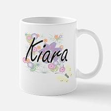 Kiara Artistic Name Design with Flowers Mugs