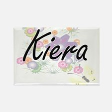 Kiera Artistic Name Design with Flowers Magnets