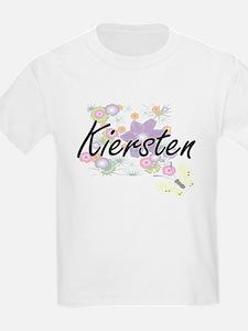 Kiersten Artistic Name Design with Flowers T-Shirt