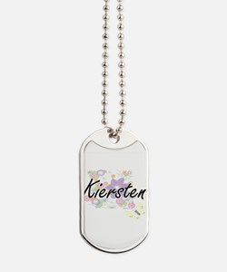 Kiersten Artistic Name Design with Flower Dog Tags