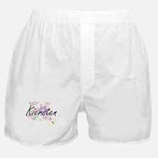 Kiersten Artistic Name Design with Fl Boxer Shorts