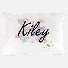 Kiley Artistic Name Design with Flower Pillow Case
