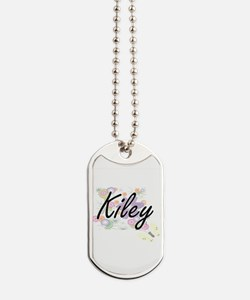 Kiley Artistic Name Design with Flowers Dog Tags