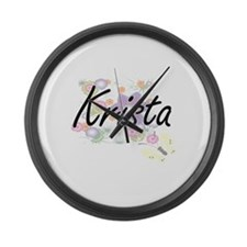 Krista Artistic Name Design with Large Wall Clock