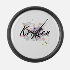 Kristen Artistic Name Design with Large Wall Clock