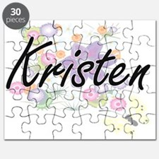 Kristen Artistic Name Design with Flowers Puzzle