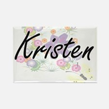 Kristen Artistic Name Design with Flowers Magnets