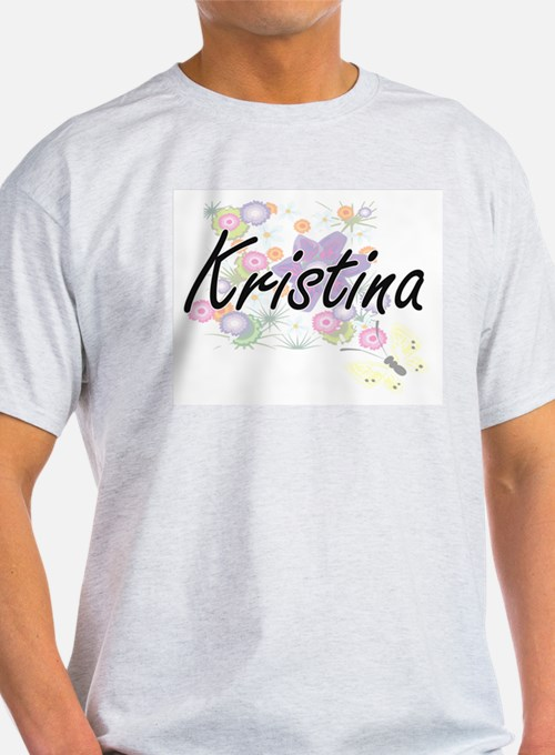 Kristina Artistic Name Design with Flowers T-Shirt