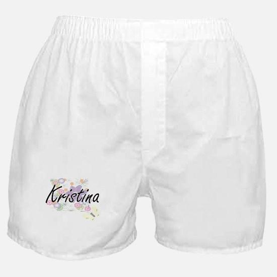 Kristina Artistic Name Design with Fl Boxer Shorts