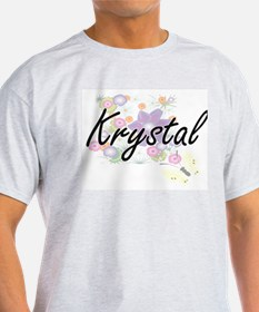 Krystal Artistic Name Design with Flowers T-Shirt