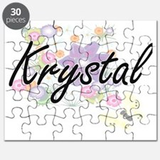 Krystal Artistic Name Design with Flowers Puzzle