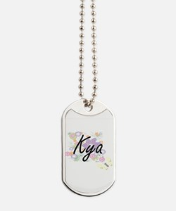 Kya Artistic Name Design with Flowers Dog Tags