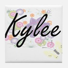 Kylee Artistic Name Design with Flowe Tile Coaster