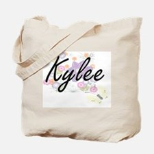 Kylee Artistic Name Design with Flowers Tote Bag